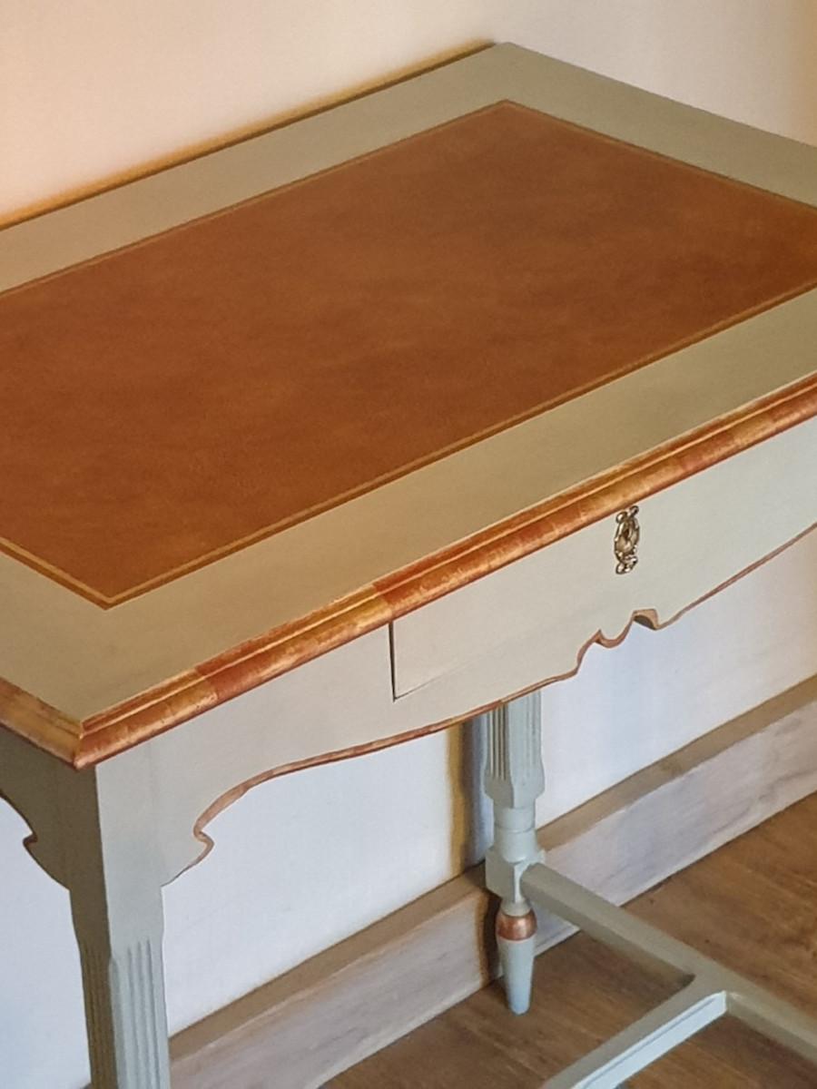 bureau avec plateau faux cuir marron
