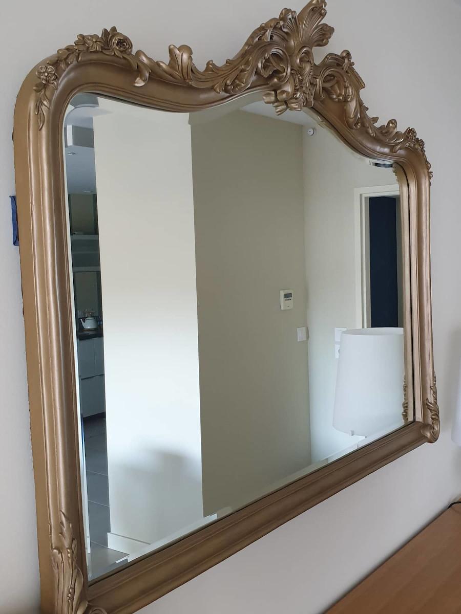 miroir bronze doré patiné