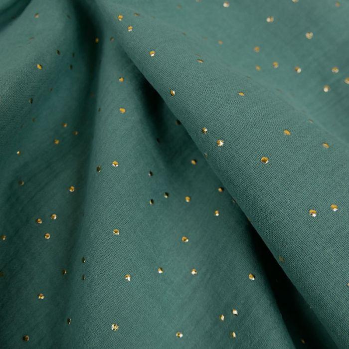 tissu double gaze pois dores vert tissu atelier de la creation