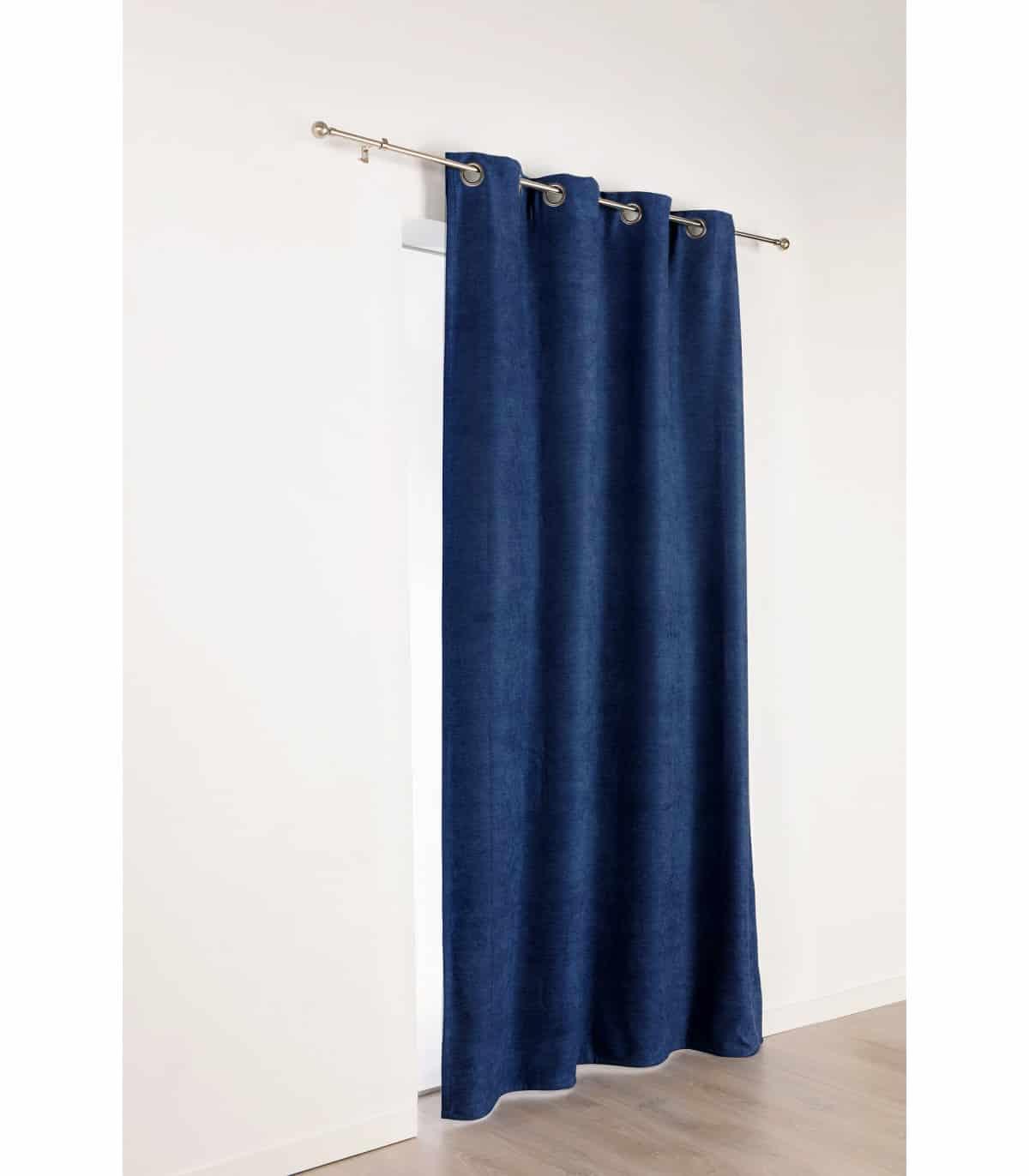 rideau bleu marine uni phonique