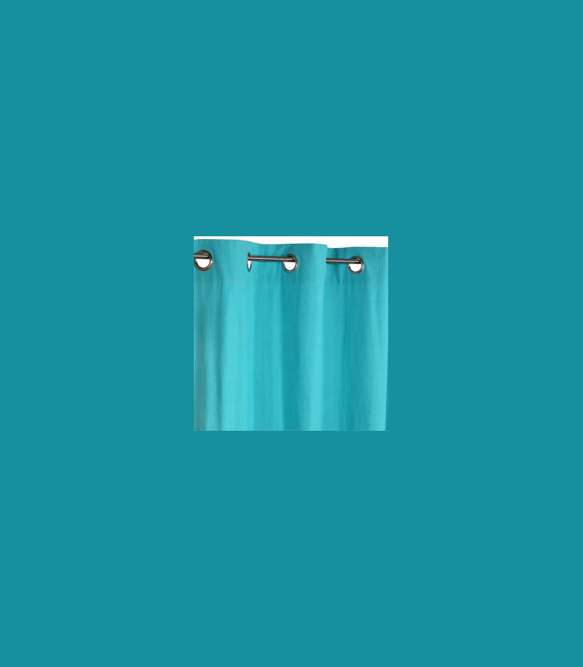 rideau uni turquoise
