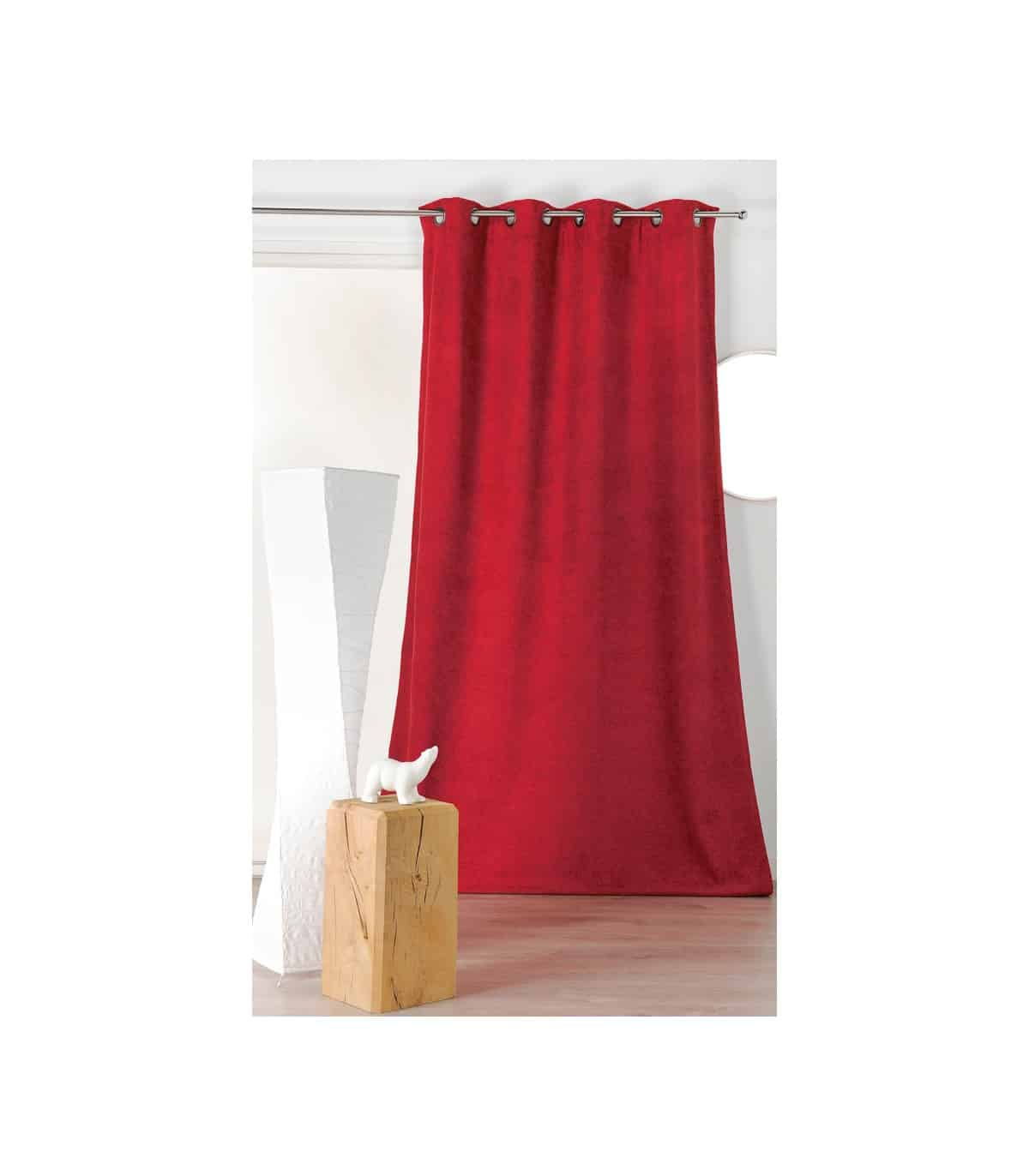rideau isolant et phonique velours rouge