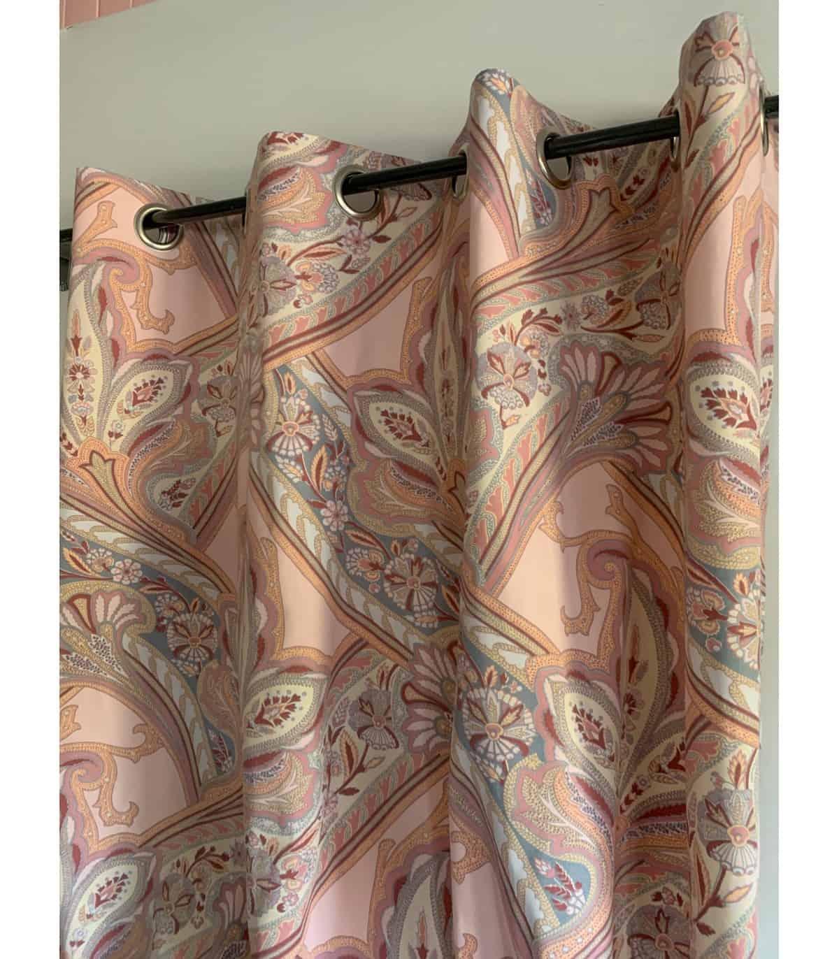 rideau imprime cachemire rose