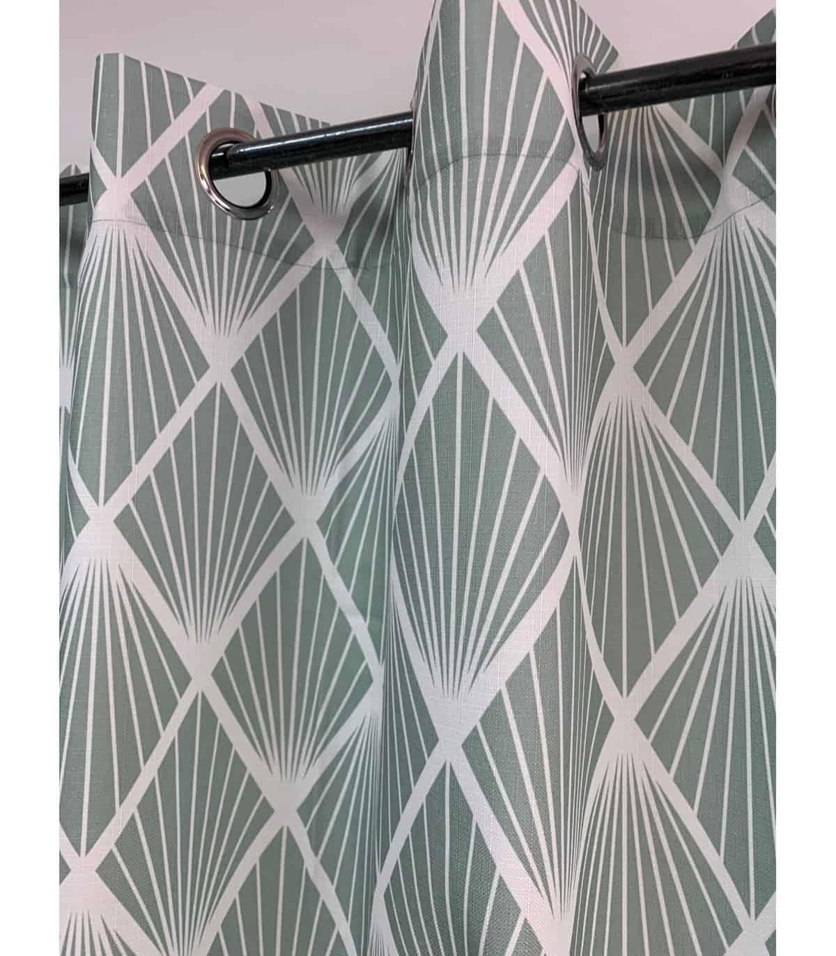 rideau motif vintage art deco vert