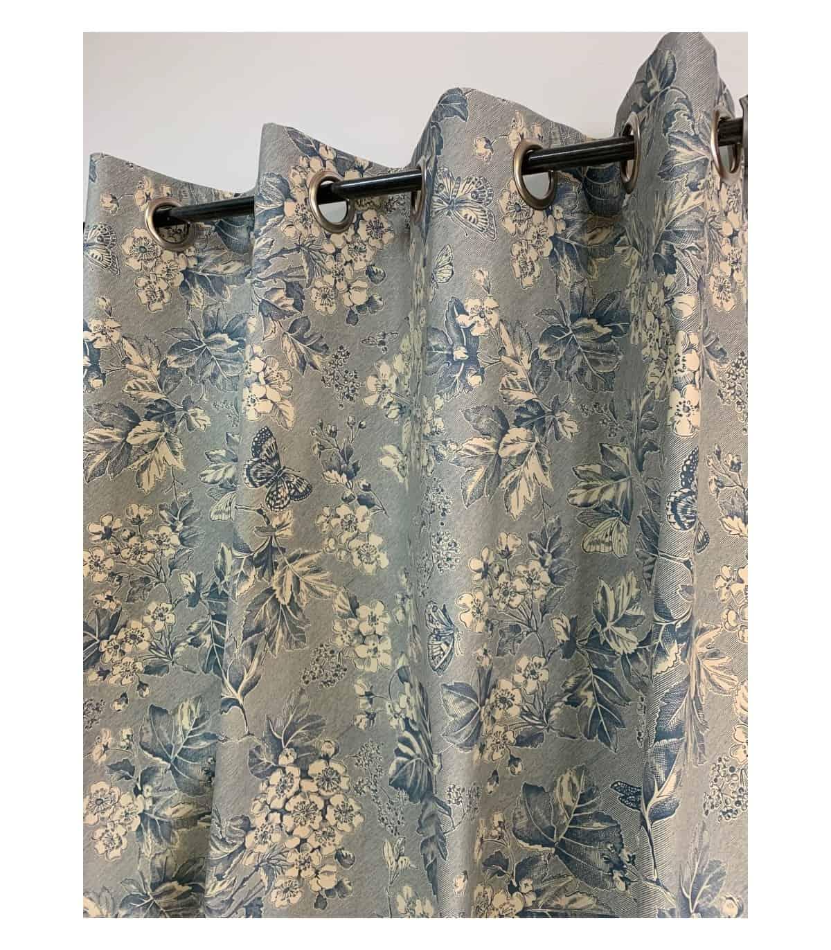 rideau toile de jouy bleu