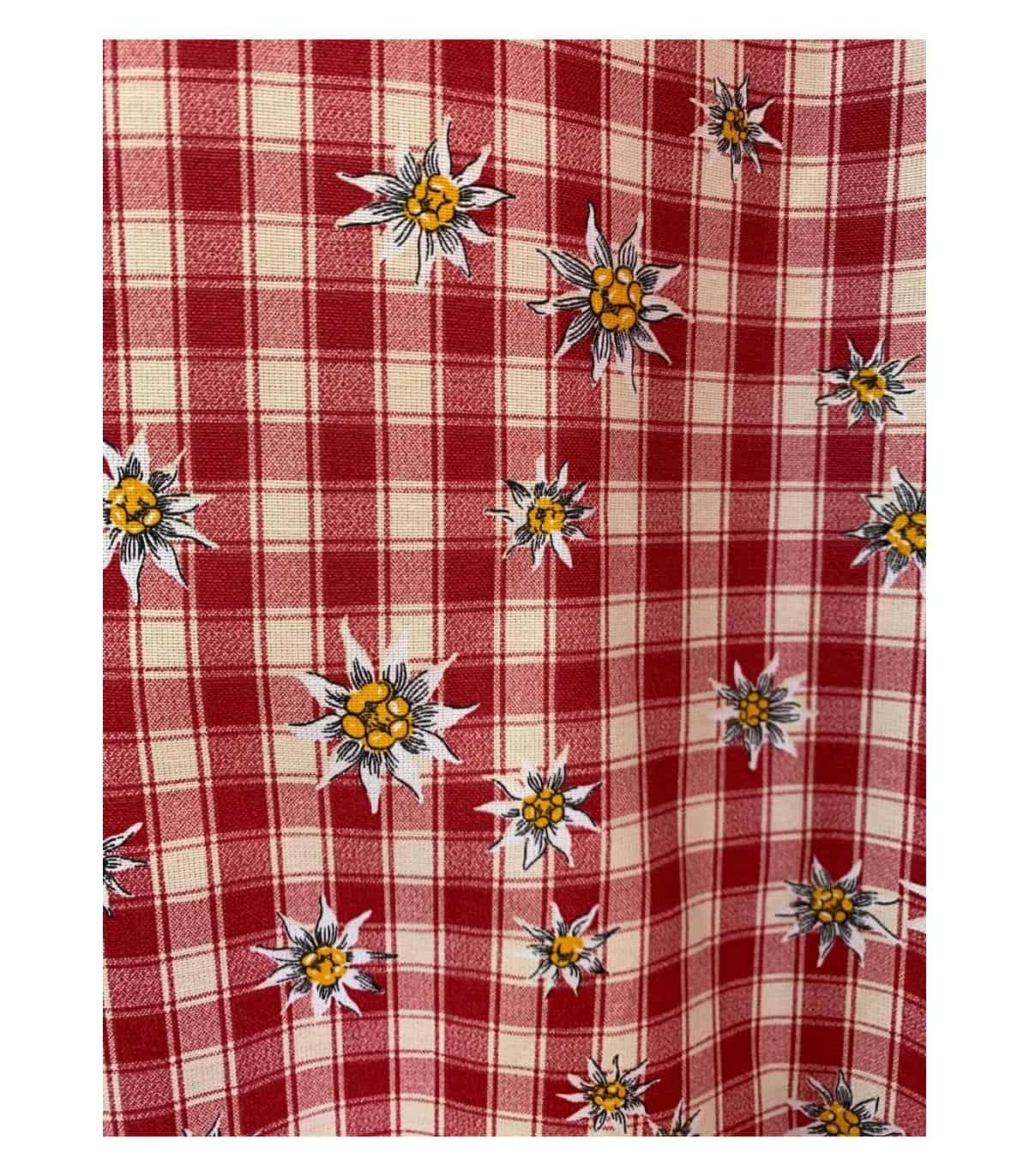 rideau montagne rouge a carreaux edelweiss