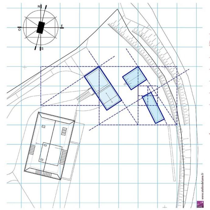 Schéma du tracé régulateur de d'implantation du garage et du studio