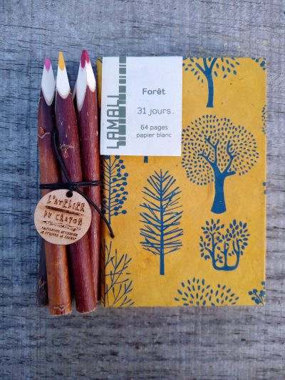 carnet arbre lamali + 5 crayons de couleur