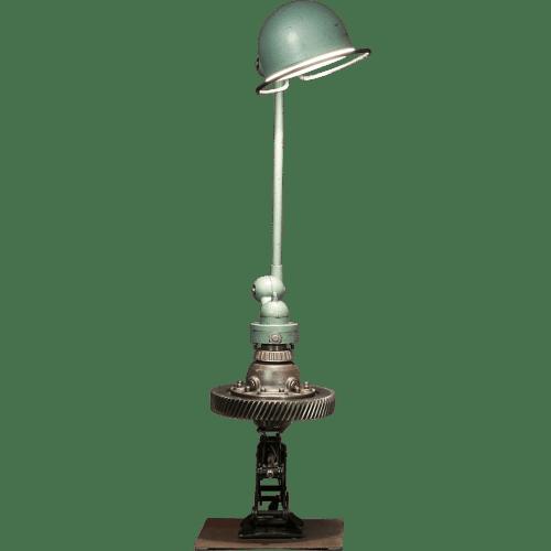 Sculpture automobile mobilier avec pièce détachée d'auto moto Lampe atelier Jielde soudée à une boite de vitesse idée cadeau pour passionné d'auto
