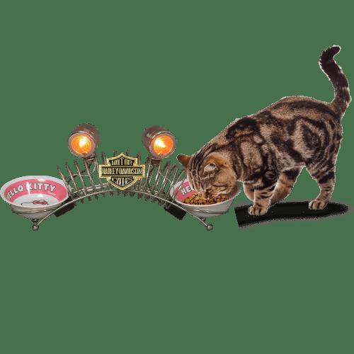 Atelier du Loft Mobilier et accessoirs pour animaux avec des pièces de voiture moto Harley Davidson Créations artistiques