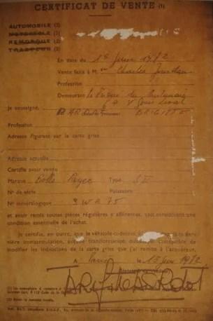 Certificat de vente de la Rolls-Royce signé par Brigitte Bardot.