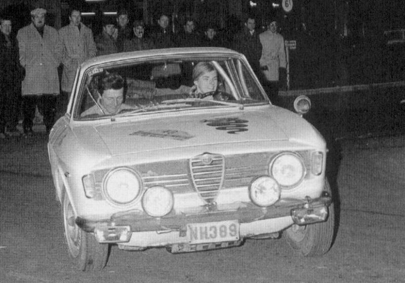 Christine Beckers au départ du rallye Flandres-Hainaut 1968