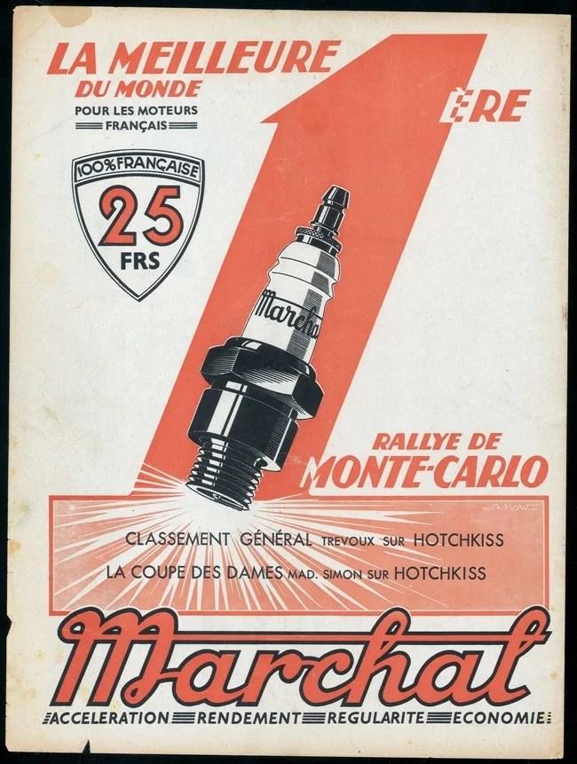 Marchal Affiche 1927 idée cadeau voiture ancienne
