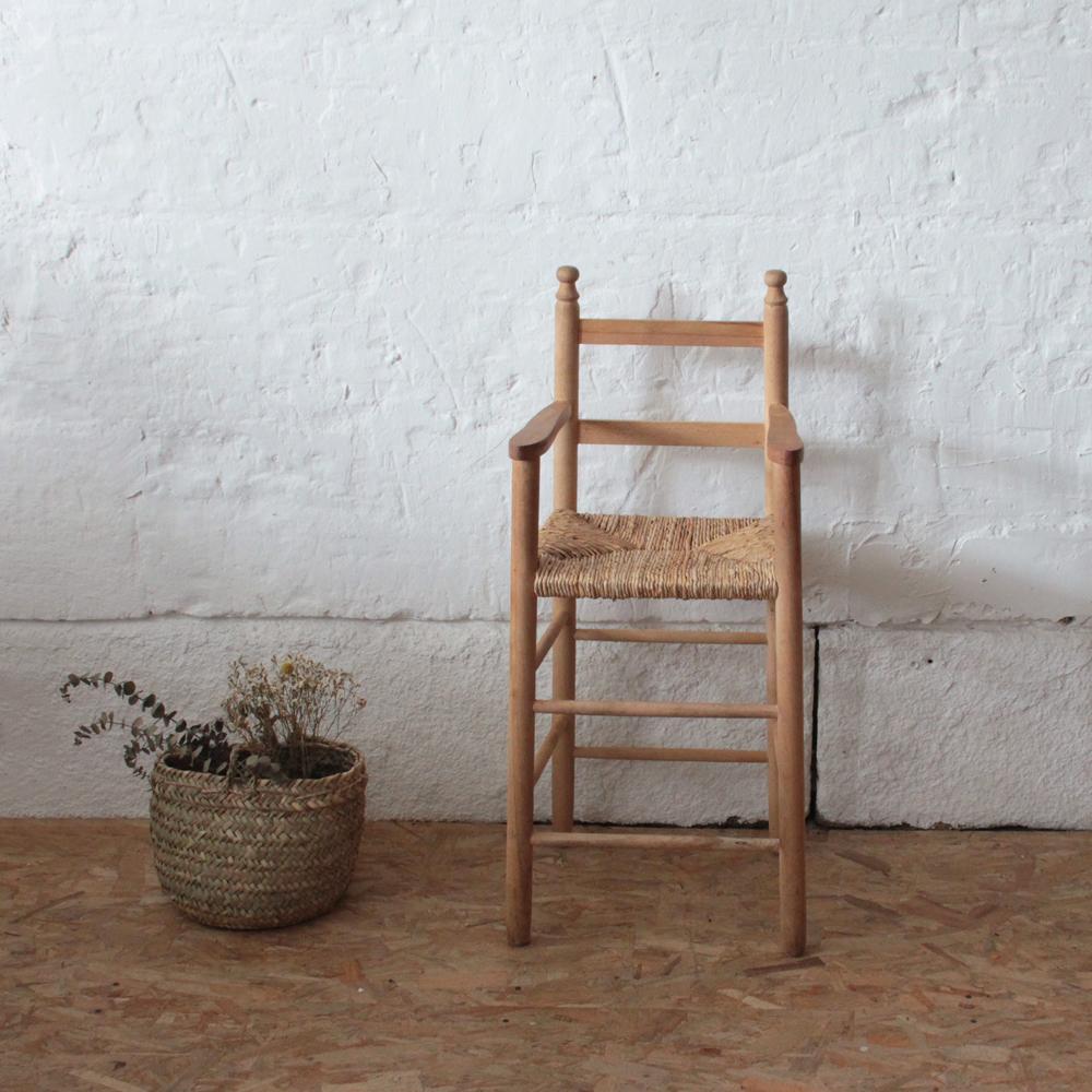 chaise haute bebe vintage bois paille