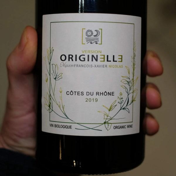etiquette face vin rouge côte du Rhône Originelle 2019