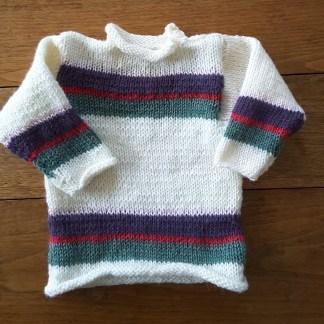 Pull 6 mois écru rayé rose et vert (n°20-28) - Vêtement de bébé