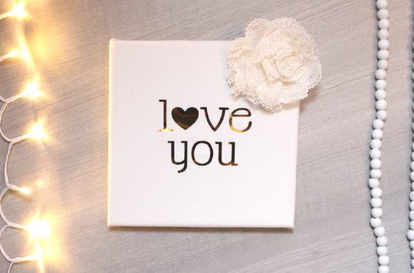 Cadre Love you blanc et or