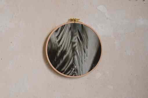 Stoffdruck im Stickrahmen von Nicole Siemers für das atelier.91, Palmblatt