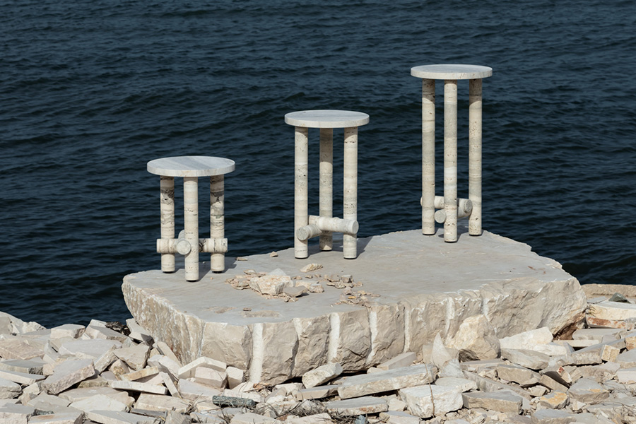 SILVER TRAVERTINE Side Table