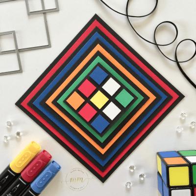 Mini album anniversaire Rubik's cube et son tutoriel par Marie Meyer Stampin up - http://ateliers-scrapbooking.fr – Tutorial Birthday Rubik's Album – Geburtstag Rubik's cube Album Anteilung