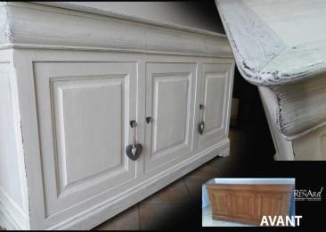 Patine gris/blanc perle - Meuble enfilade - Ateliers Renard