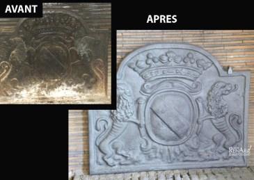 Traces de suie sur plaque de cheminée - Ateliers Renard