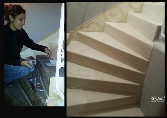 Escalier en béton décoratif crême - Ateliers Renard