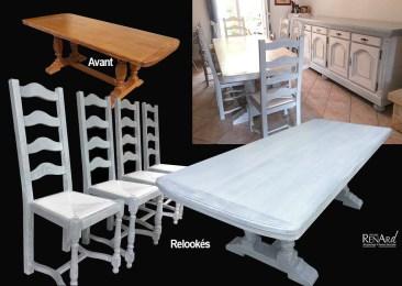 patine sur buffet, chaises et table - Ateliers Renard