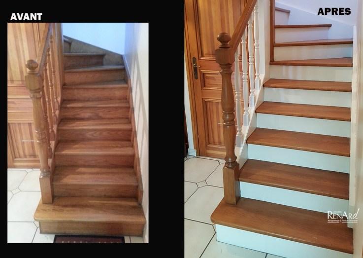 escalier en chene peint