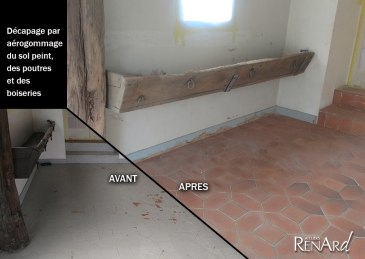 aérogommage boiseries et sol peint