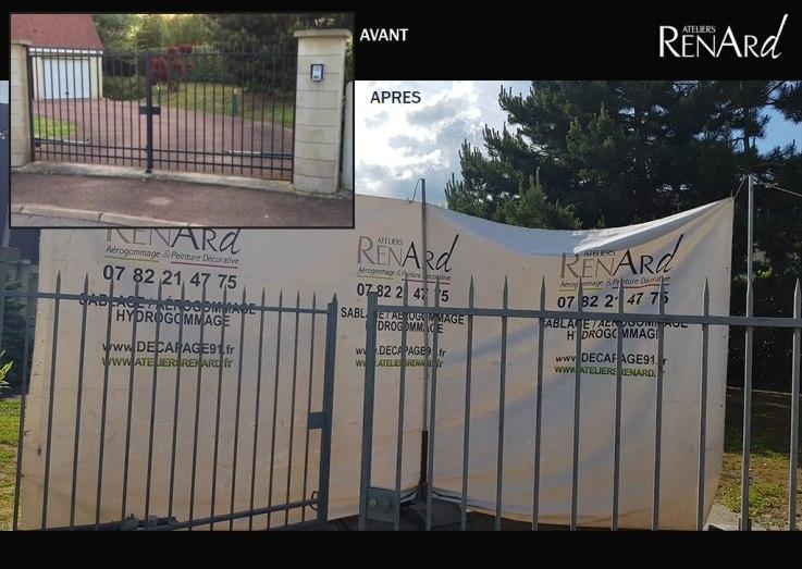aerogommage-decapage-metal-portail-peint-ateliers-renard