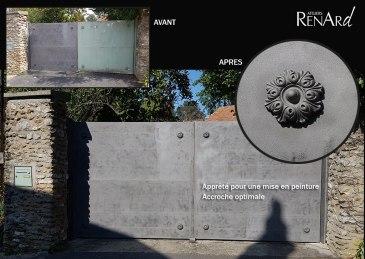 aerogommage-decapage-metal-portail-pleins-peint-ateliers-renard