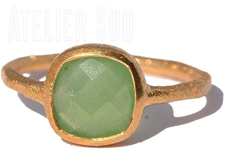 Carre Groene Chalcedoon Ring