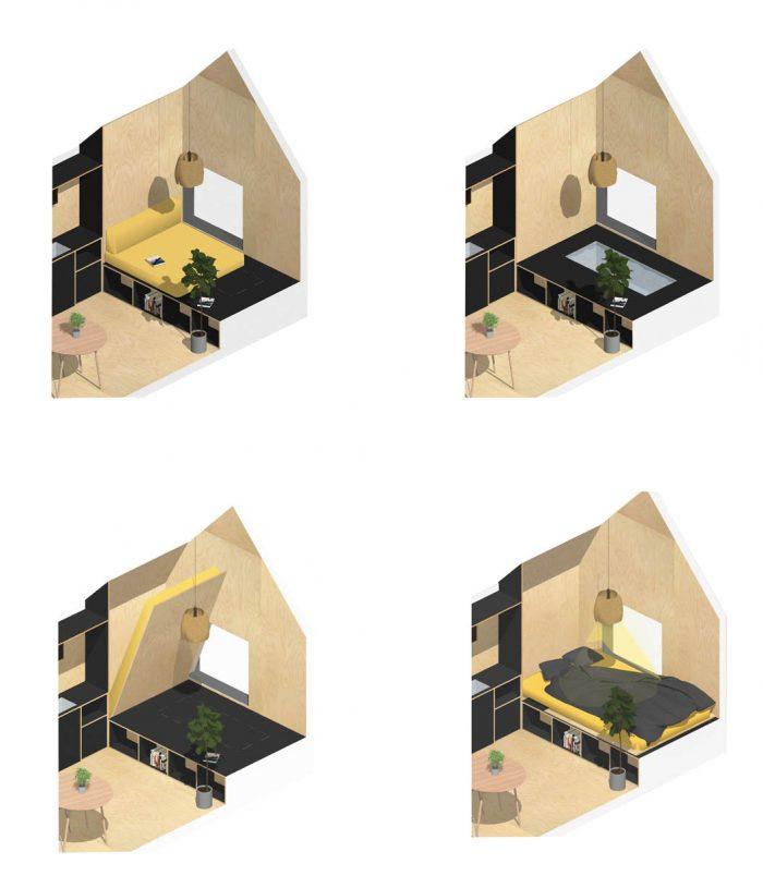 Configuration d'intérieur des tiny houses