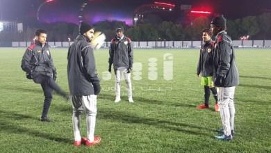 صورة وسط معنويات مرتفعة.. الأحمر الأولمبي يؤدي حصته التدريبية استعدادا لمباراة قطر