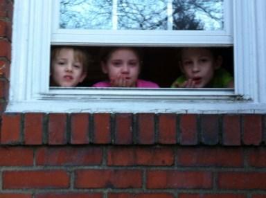 blowing kisses three kids