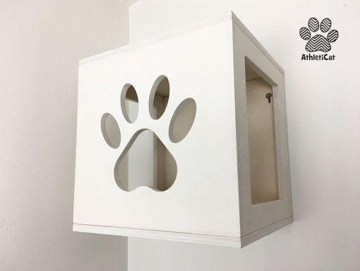 cubo per gatti bianco
