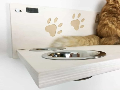 cat shelf with bowls name
