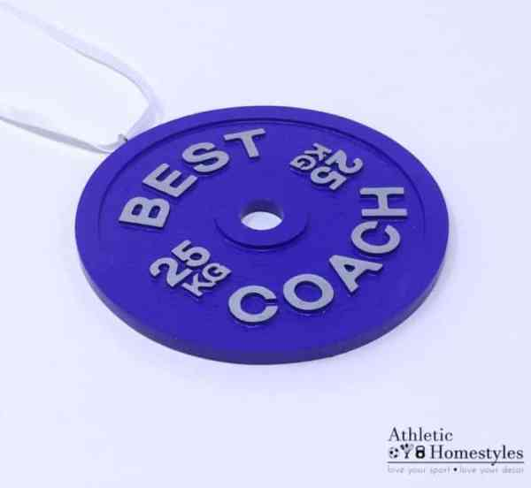 Barbell Plate Best Coach 25KG Christmas Ornament