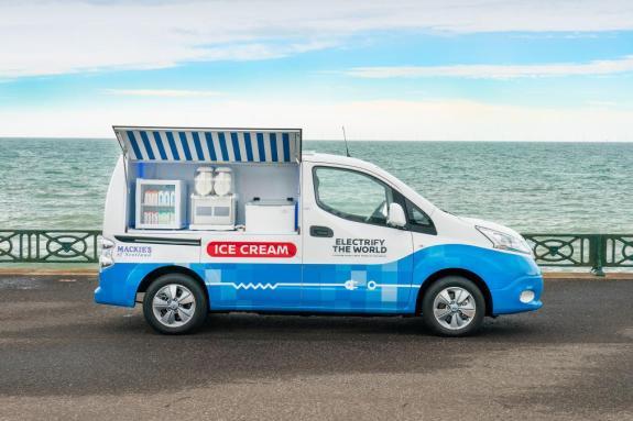 H Nissan μετατρέπει το e-NV200 σε «πράσινο» παγωτατζίδικο