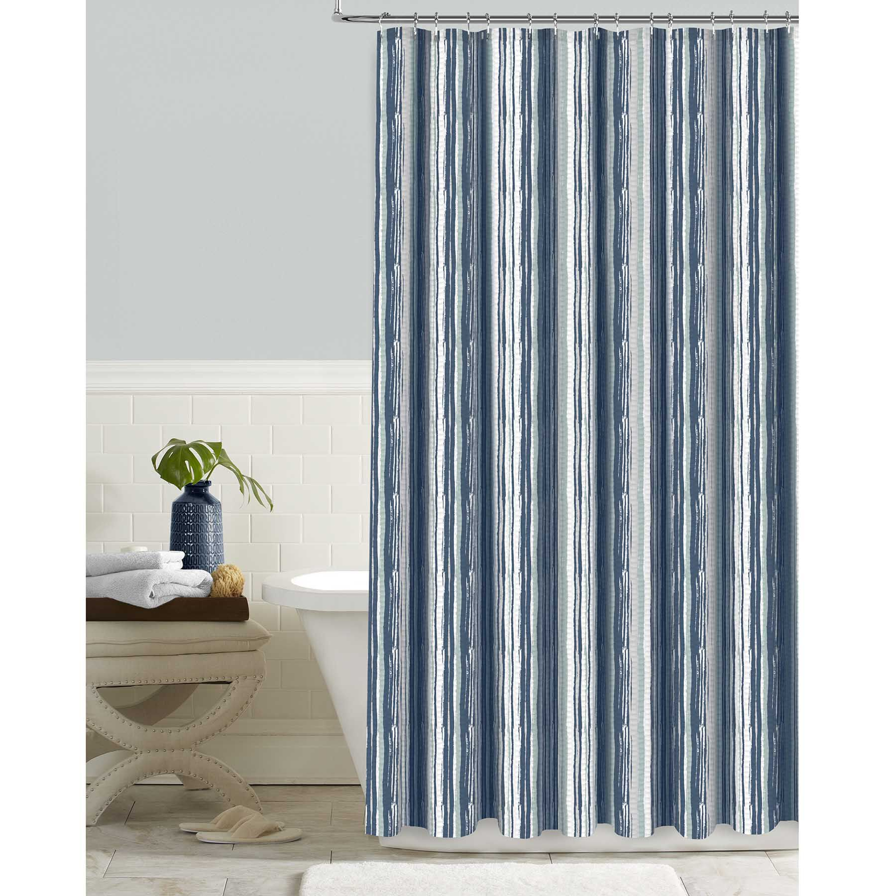 Blue Indigo Electric Striped Shower Curtain At Home