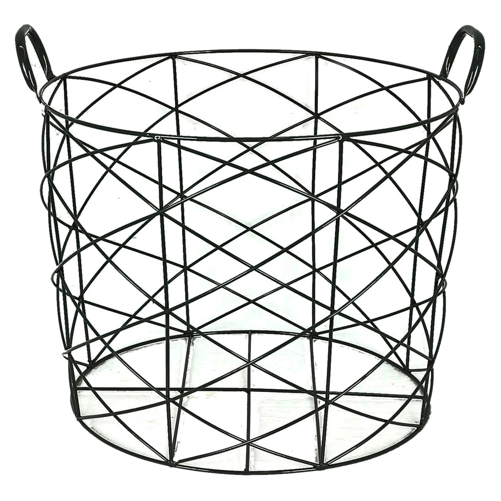 Large black round wire basket at home at home