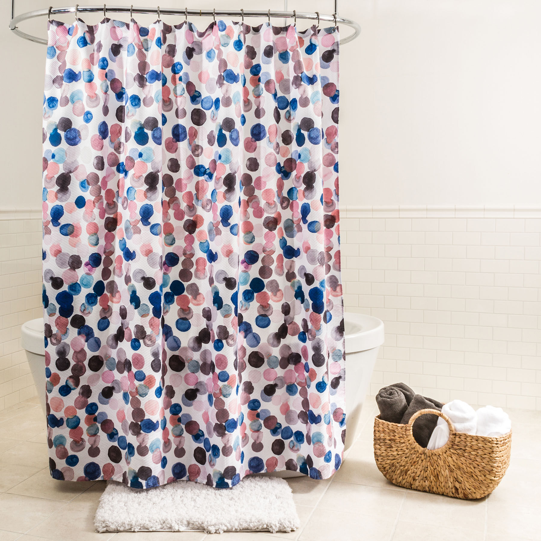 Multicolored Splash Dots Fabric Shower Curtain At Home