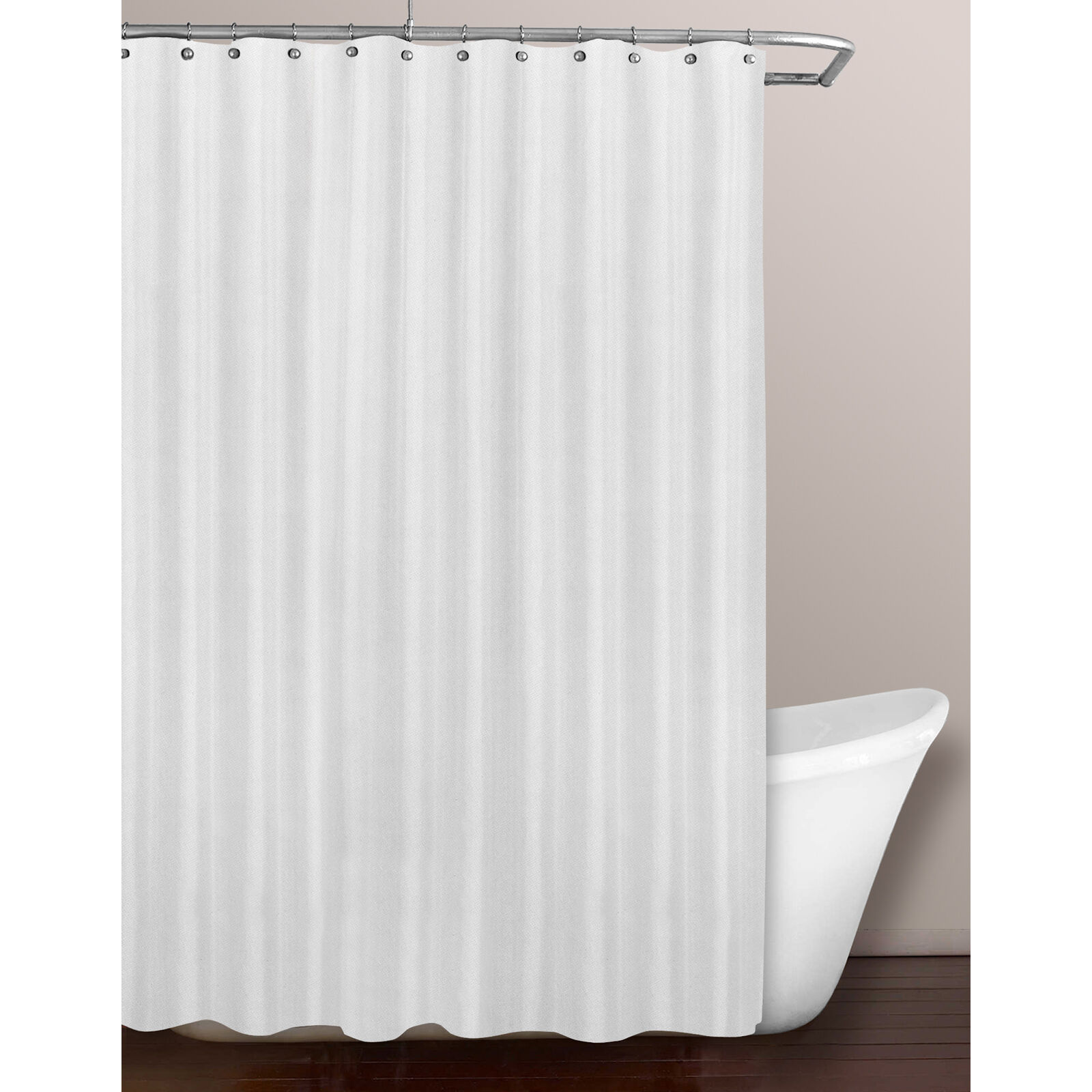 White Fabric Shower Curtain Liner At Home
