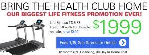 Life Fitness Treadmill Sale