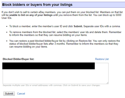 block members list eBay online selling tips eCommerce mistakes errors