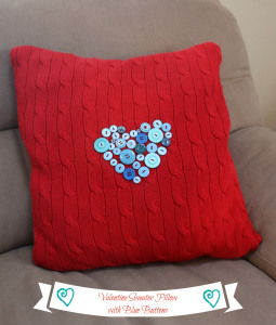 valentine pillow on couch
