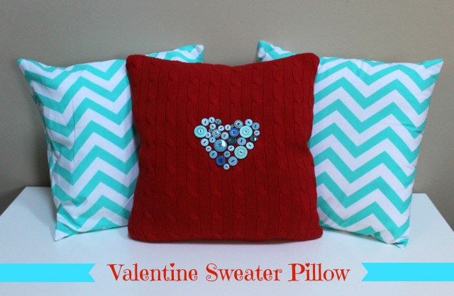 valentine sweater with blue buttons