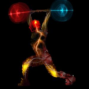 Image vectoriel d'un haltérophile. Il réalise l'épaulé-jeté