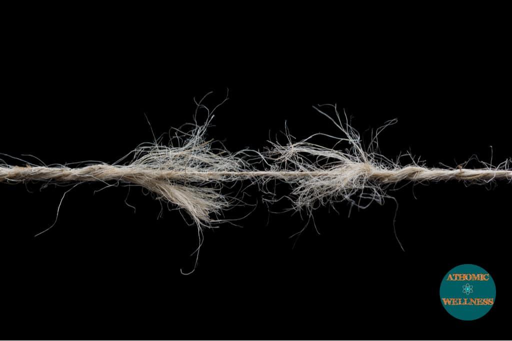 Lésions musculaires représentées sur une corde cassante